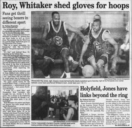 "Roy Jones Jr. (right) dribbles in a charity basketball game against fellow boxer Pernell ""Sweet Pea"" Whitaker at the Pensacola Bay Center in December 1995."
