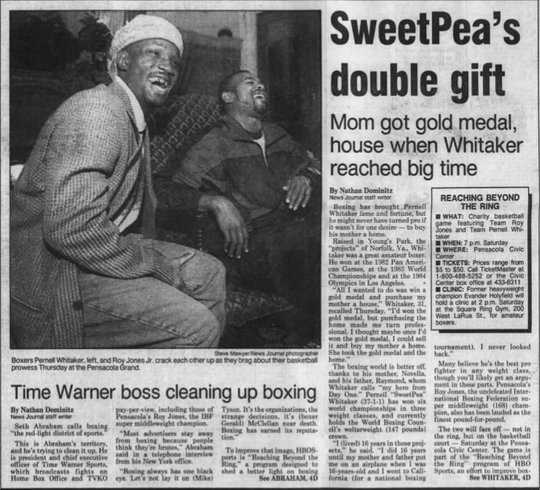 "Boxer's Pernell ""Sweet Pea"" Whitaker (left) and Roy Jones Jr. laugh at the Pensacola Grand Hotel in the days before their charity basketball game in December 1995."