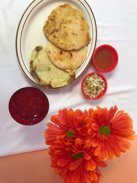 Pupusas are originally from El Salvador. At Blessing Restaurant, 1 E. Walnut St., you can order them with a variety of fillings. They come in threes with cabbage salad and tomato sauce.