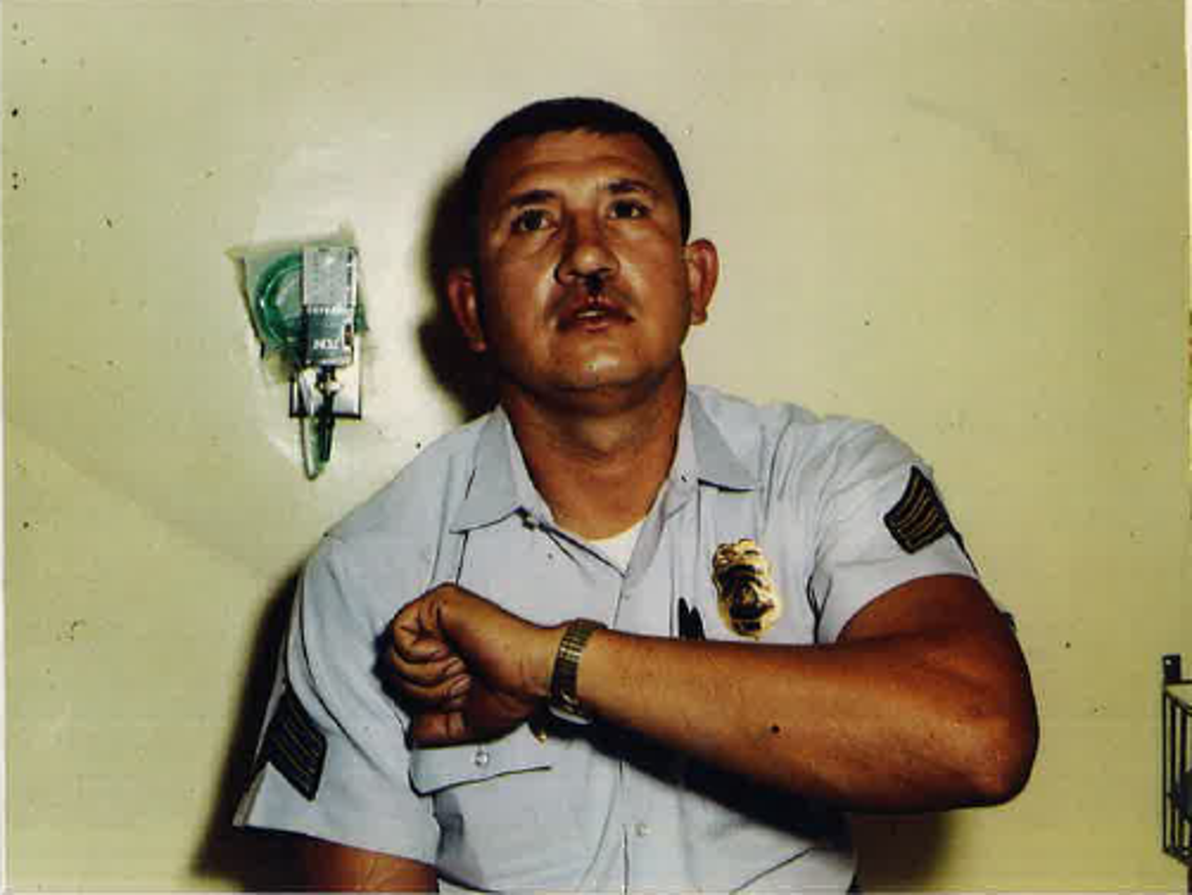 A 1968 photo of Phoenix police officer Manny Quiñonez after he was shot with birdshot in the lip, head and arm. This was Quinonez's second shooting in the line of duty.