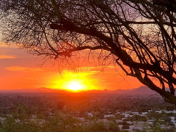 Hot sunsets with 110 degree temperatures explode in beauty over Moon Valley.