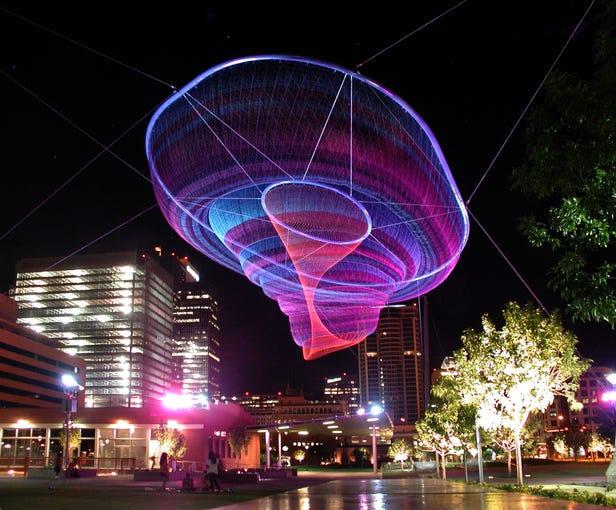"Phoenix public art: ""Her Secret Is Patience"" (2009) by Janet Echelman is at Civic Space Park at 424 N. Central Ave."