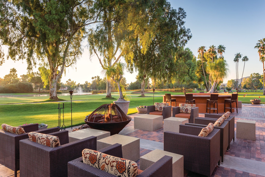 Enjoy picturesque views of the Camelback Mountain at Orange Tree Resort in Scottsdale.