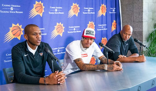 General Manager James Jones answers a question at a news conference with Kelly Oubre Jr. and Suns coach Monty Williams on July 16 at Talking Stick Resort Arena.