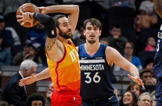 The Suns added Utah Jazz guard Ricky Rubio (3) and Minnesota Timerwolves forward Dario Saric (36) in NBA free agency. Betting sites weren't impressed.