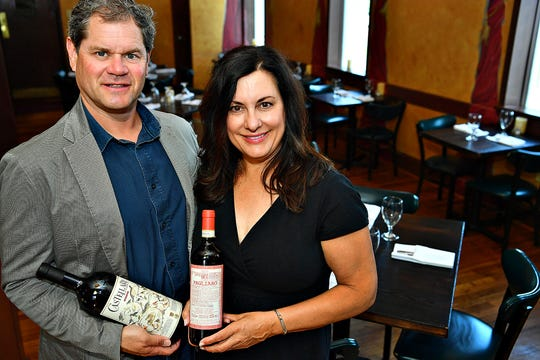 Owners Mark and Marie Sindicich are shown in the dining room of Victor's Italian Restaurant in Spring Garden Township, Tuesday, July 16, 2019. Victor's recently received the Award of Excellence for their wine selection and has been recognized by Wine Spectator magazine. Dawn J. Sagert photo