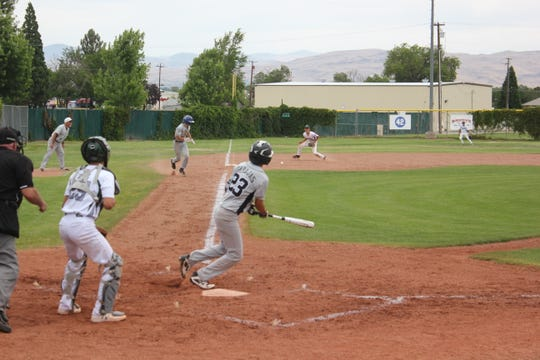 Mario Barajas bats for South Reno in the state Babe Ruth tournament in July.