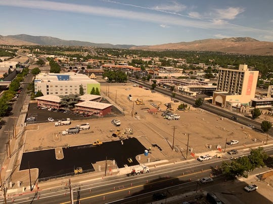Construction at the West Fourth Street corridor as part of the  Reno Neon Line project by Jacobs Entertainment.