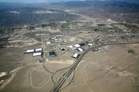 Aerial shots of the Crossroads Commerce Center in Fernley. The 4,000-acre property was bought by California-based Mark IV Capital in July 2019.