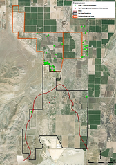 A map shows Mason Valley residences that currently receive bottled water deliveries, both inside the mine's plume (red dots) and outside the plume (green dots.)
