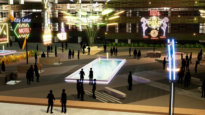 Renders of the  Reno Neon Line project by Jacobs Entertainment.