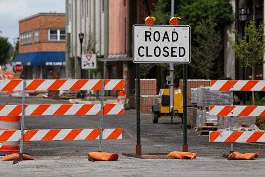 East Main Street in the 500 and 600 blocks remains closed for construction of a new bike path on Monday, July 16, 2019.