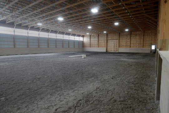 An indoor training area for the horses.