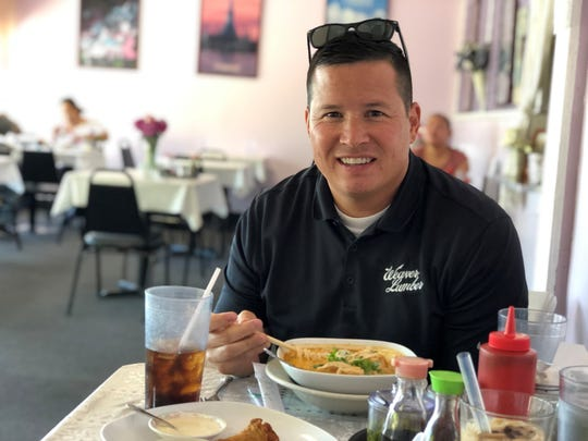 Former Redding Mayor Brent Weaver enjoys lunch in May 2019 at Racha Noodle on South Market Street.