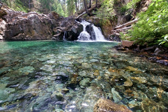 A waterfall on Elk Lake Creek in Bull of the Woods Wilderness.