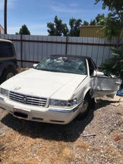 Brandon Short's totaled car after a hit-and-run accident outside Sonora, Texas.