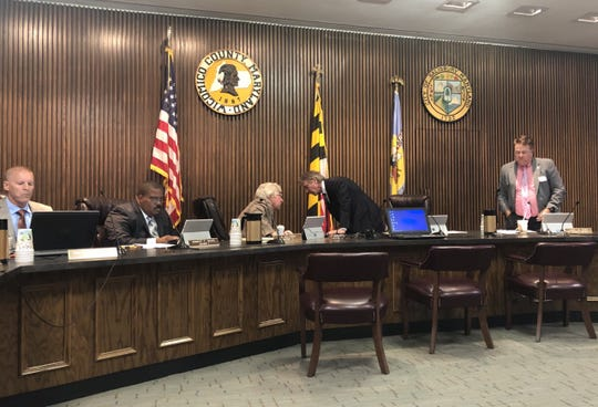 Wicomico County Council prepares to begin its meeting Monday, July 16, 2019, in the council chambers in Salisbury.