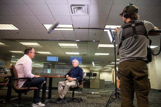 """James Fallows of The Atlantic interviews Argus Leader Media News Director Cory Myers for an upcoming HBO documentary, Tuesday, July 16. The documentary is a follow-up on the book """"Our Towns: A 100,000-Mile Journey Into the Heart of America"""" and features people and businesses in Sioux Falls."""