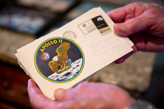 Gary Metz has a collection of NASA memorabilia, including Apollo stamps that were stamped and sent out the day of the Apollo 11 launch on July 16, 1969.
