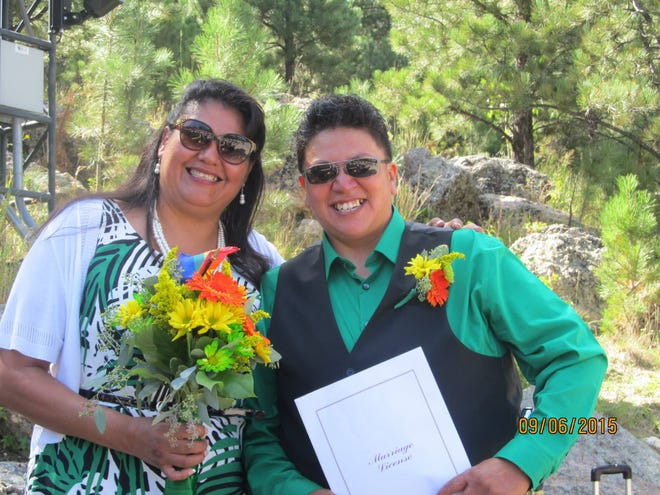 Felipa DeLeon (left) and Muffie Mousseaux at their 2015 wedding at Mount Rushmore, where they married after they learned they couldn't legally marry on the Pine Ridge Reservation.