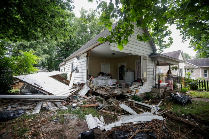 Greene County Sheriff's deputies were pursuing a Chevrolet Trailblazer early Tuesday, July 16, 2019 in connection with a theft investigation when the SUV crashed into a home on National Avenue just north of Chestnut Expressway in Springfield, Mo.