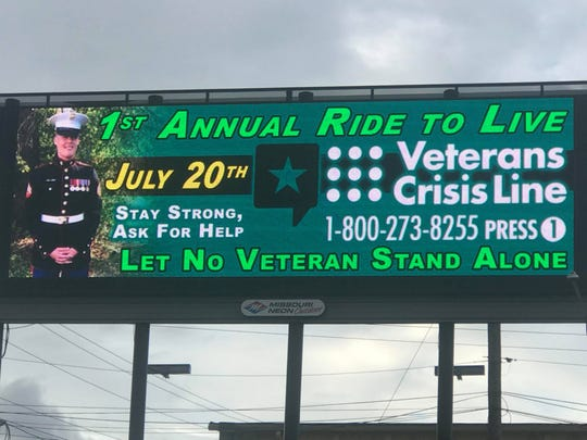 The Ride To Live event will be Saturday at American Legion Post 639. Pictured on this billboard is Kindall Johnson, a Marine veteran who killed himself three years ago.