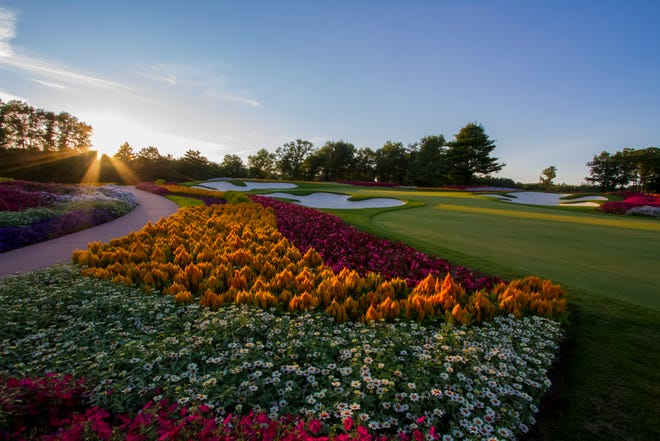 The 16th hole at SentryWorld's course is known as the Flower Hole. It has 30,000 flowers planted at the site. Photo courtesy of SentryWorld.