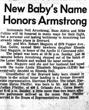 A clipping from a 1969 Florida Today paper announces Harrison Haruo Pfeiffer's birth close to Neil Armstrong's lunar steps.