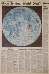 'X' marks the spot where Apollo 11 touched down on the moon as seen in the Tallahassee Democrat from Monday, July 21, 1969.
