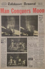 """The """"Moonday"""" edition of the Tallahassee Democrat from Monday, July 21, 1969."""