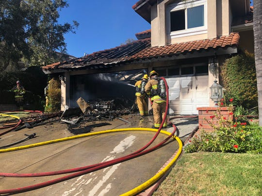 One person was treated after a fire erupted in the garage of a house in the 3100 block of Geronimo Avenue in Simi Valley.
