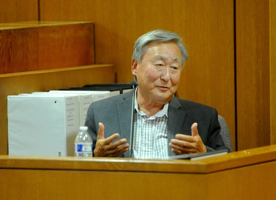 Dr. Soon K. Kim, owner of Signature Health Care Services, testifies Tuesday in a trial triggered by a multi-million dollar lawsuit against Signature and Aurora Vista del Mar psychiatric hospital.