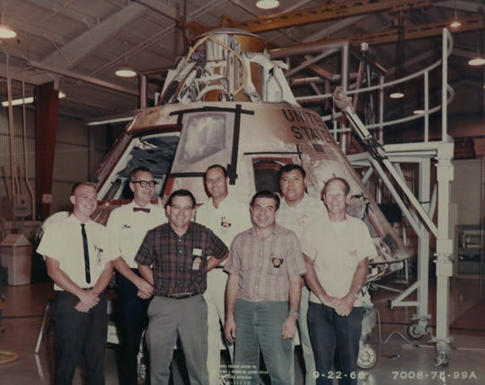 Rich Manley, shown on the far left, was a NASA engineer who worked on the Apollo project, including the moon landing in this photo copied in Goshen, Calif., Tuesday, July 19, 2019.