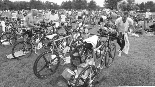 Competitors get ready for the 20th annual Woodson YMCA Triathlon  at Sunny Vale Park. The race was held in 1999.