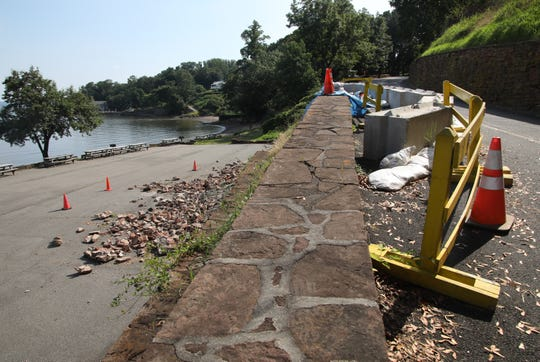 A retaining wall collapsed in the spring closing the road to drivers at Nyack Beach State Park on July 16, 2019.