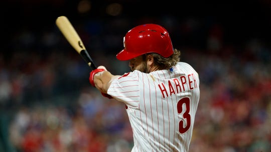 Philadelphia Phillies' Bryce Harper bats during a baseball game against the Washington Nationals, Saturday, July 13, 2019, in Philadelphia.