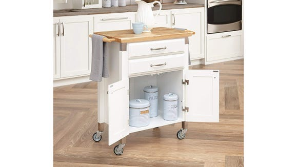 Create a portable island in your kitchen by scooping up a deal on the Dolly Madison Prep and Serving Cart.