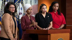 "From left, Rep. Rashida Tlaib, Rep. Ilhan Omar, Rep. Alexandria Ocasio-Cortez and Rep. Ayanna Pressley respond to remarks by President Donald Trump after his call for the four Democratic congresswomen to go back to their ""broken"" countries, during a news conference at the Capitol in Washington, Monday, July 15, 2019. All are American citizens and three of the four were born in the U.S."