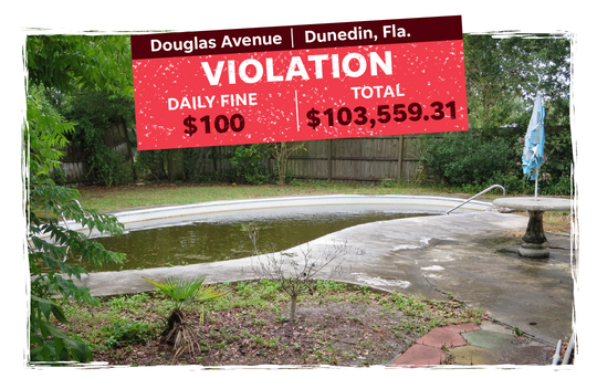 Douglas Avenue in Dunedin, Fla., which has been fined $103,559.31 by the city for violations.