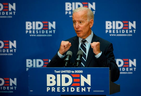 Former US Vice President Joe Biden, the leading Democratic 2020 presidential candidate, gestures July 11, 2019, as he delivers a speech about his foreign policy vision for America at the Graduate Center at City University of New York.