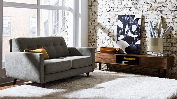 The Rivet Sloane Mid-Century Modern Loveseat is the right size for a smaller living room.