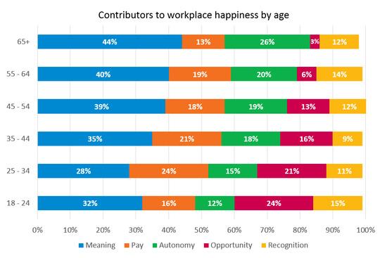 Contributors to workplace happiness by age