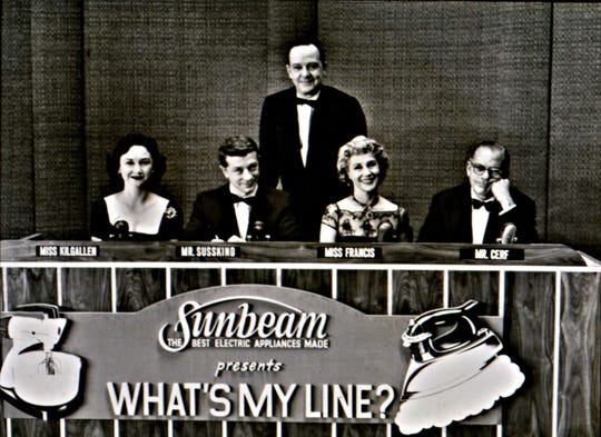"""""""What's My Line?"""" was hosted by John Daly (center) and featured a panel of celebrity guests including, from left, Dorothy Kilgallen, David Susskind, Arlene Francis and Bennett Cerf."""