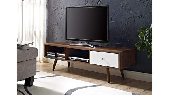 The Modway Mid-Century Modern TV Stand makes a great perch for a new TV or an old one.