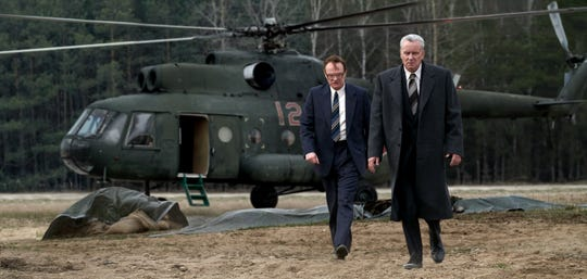 Actors Jared Harris, left, and Stellan Skarsgȧrd received Emmy nominations for their performances as scientist Valery Legasov and politician Boris Shcherbina, who forced the Soviet government to face reality about how serious the Chernobyl disaster was.