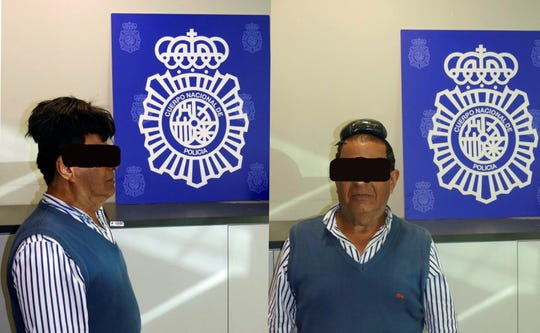 An undated handout composite photo released by the Spanish National Police on 16 July 2019 shows a man who was detained at Barcelona's El Prat airport allegedly carrying 500 grams cocaine hidden under a wig.