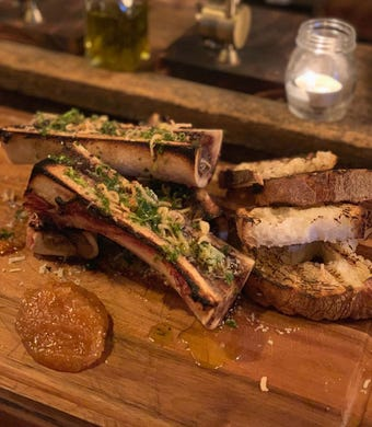 Roasted bone marrow with grilled bread  at The Butcher's Block in Long Branch.