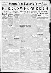 Asbury Park Press front page Fri., July 21, 1944