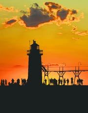 The lighthouse and pier at South Haven.