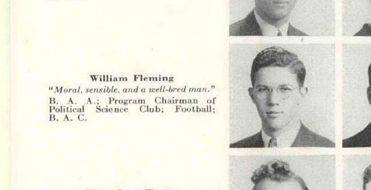 A page from the 1939 Paean, the Battle Creek Central yearbook, shows William Fleming.